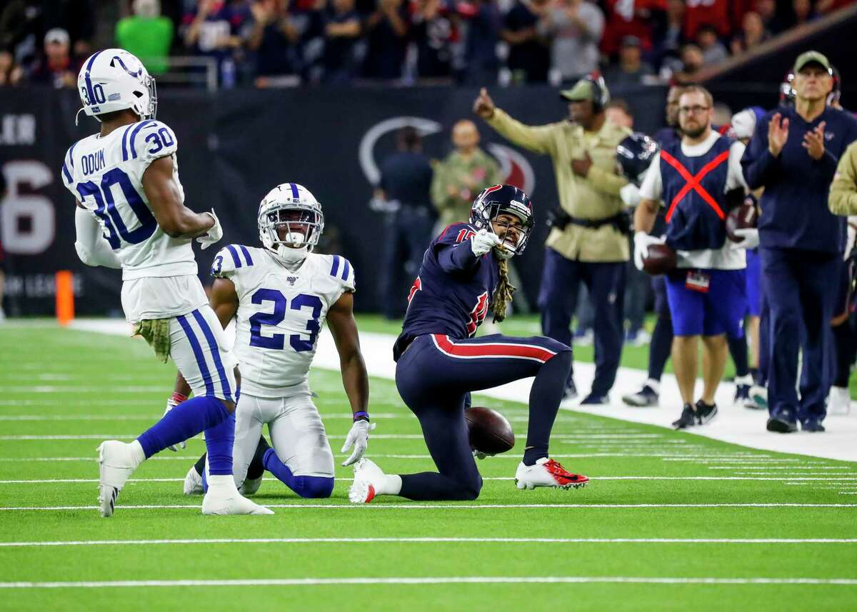 Houston Texans wide receiver Will Fuller (15) celebrates a first down during the fourth quarter of an NFL football game at NRG Stadium, Thursday, Nov. 21, 2019, in Houston.