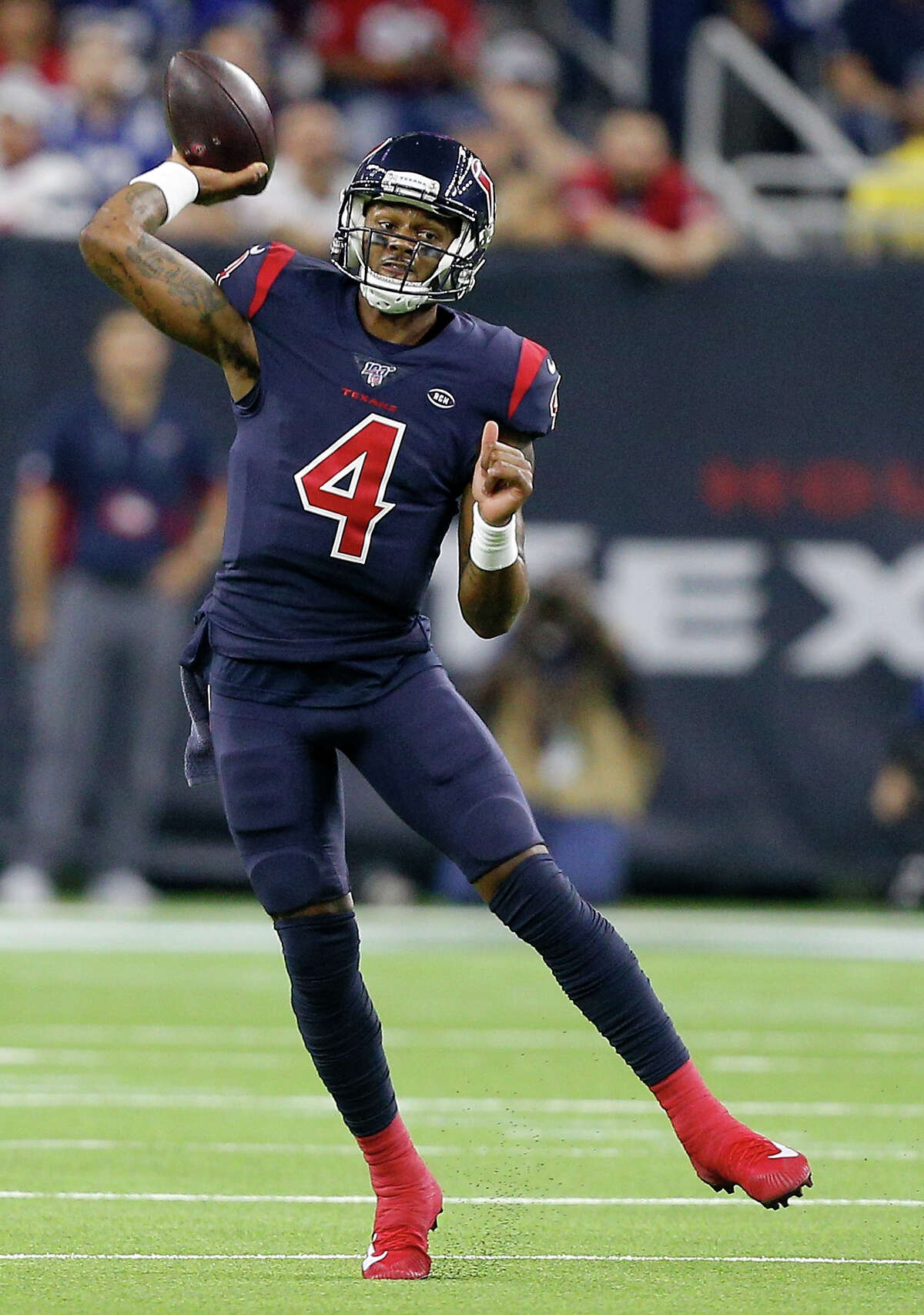 HOUSTON, TEXAS - NOVEMBER 21: Quarterback Deshaun Watson #4 of the Houston Texans delivers a pass over the defense of the Indianapolis Colts during the game at NRG Stadium on November 21, 2019 in Houston, Texas. (Photo by Bob Levey/Getty Images)