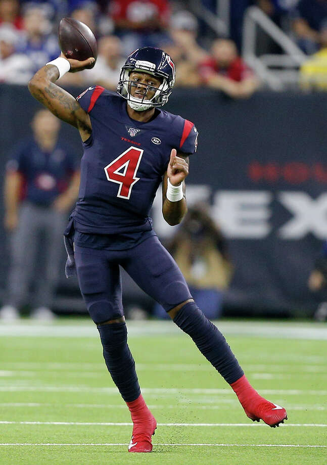 HOUSTON, TEXAS - NOVEMBER 21: Quarterback Deshaun Watson #4 of the Houston Texans delivers a pass over the defense of the Indianapolis Colts during the game at NRG Stadium on November 21, 2019 in Houston, Texas. (Photo by Bob Levey/Getty Images) Photo: Bob Levey / 2019 Getty Images