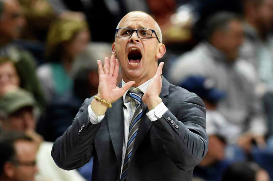 Connecticut head coach Dan Hurley urges his team on in the second half of an NCAA college basketball game against Sacred Heart Friday, Nov. 8, 2019, in Storrs, Conn. (AP Photo/Stephen Dunn) Photo: Stephen Dunn / Associated Press / Copyright 2019 The Associated Press. All rights reserved