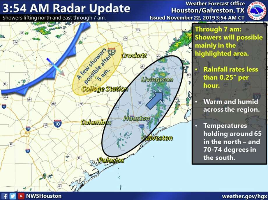 The National Weather Service says the cold front sweeping through Texas will hit Houston a little sooner than originally expected Friday, Nov. 22, 2019. Photo: National Weather Service