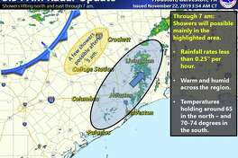 The National Weather Service says the cold front sweeping through Texas will hit Houston a little sooner than originally expected Friday, Nov. 22, 2019.