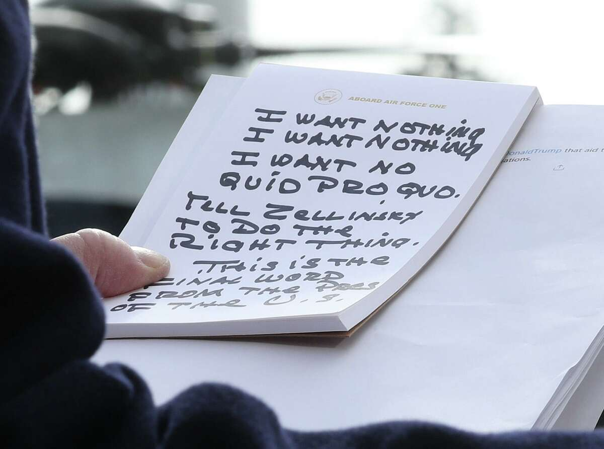 WASHINGTON, DC - NOVEMBER 20: U.S. President Donald Trump holds his notes while speaking to the media before departing from the White House on November 20, 2019 in Washington, DC. President Trump spoke about the impeachment inquiry hearings currently taking place on Capitol Hill. (Photo by Mark Wilson/Getty Images) *** BESTPIX ***