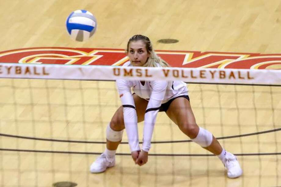 Edwardsville High School grad and UMSL sophomore Megan Woll earned Libero of the Year for the Great Lakes Valley Conference. Photo: UMSL