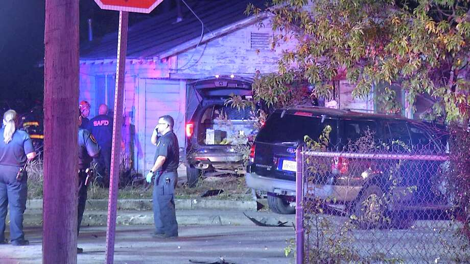 One man was arrested after crashing into a SAPD patrol car. Photo: Ken Branca