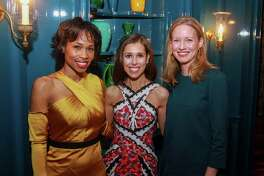 """EMBARGOED FOR SOCIETY REPORTER UNTIL NOV. 27 Roslyn Bazzelle Mitchell, from left, Jennifer Wizel and Mary Groves at Contemporary Art Museum Houston's """"Another Great Night"""" on November 20, 2019."""