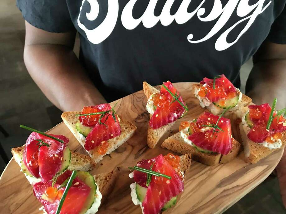 Salmon toast (beet-cured salmon, vegan tzatziki, salmon roe, fresh dill, preserved lemon and za'atar on sprouted breadfrom Satisfy, a new restaurant from Clark Cooper Concepts opening in spring 2020 at 2229 San Felipe. Photo: Greg Morago