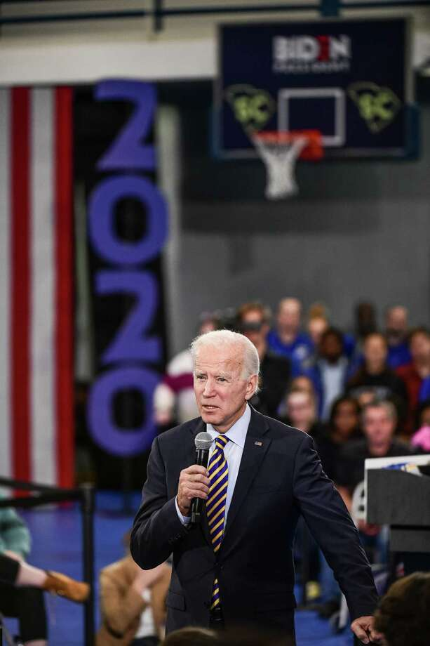 Democratic presidential candidate former vice President Joe Biden speaks to the audience during a town hall on Thursday in Greenwood, S.C. Photo: Getty Images / 2019 Getty Images