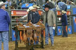 Local residents who love the Houston Livestock Show and Rodeo will once again be able to use a special bus service on weekends after The Woodlands Township Board of Directors OK'd renewing the specialty service for a second year in 2020. The program debuted in 2019 and saw moderate success despite limited marketing and a late start. In this 2019 file photograph,Ty Blasingame and Kyle Lockett wi the Team Roping championship during the Rodeo Championship finals of the Houston Rodeo at NRG Stadium in Houston, Texas.