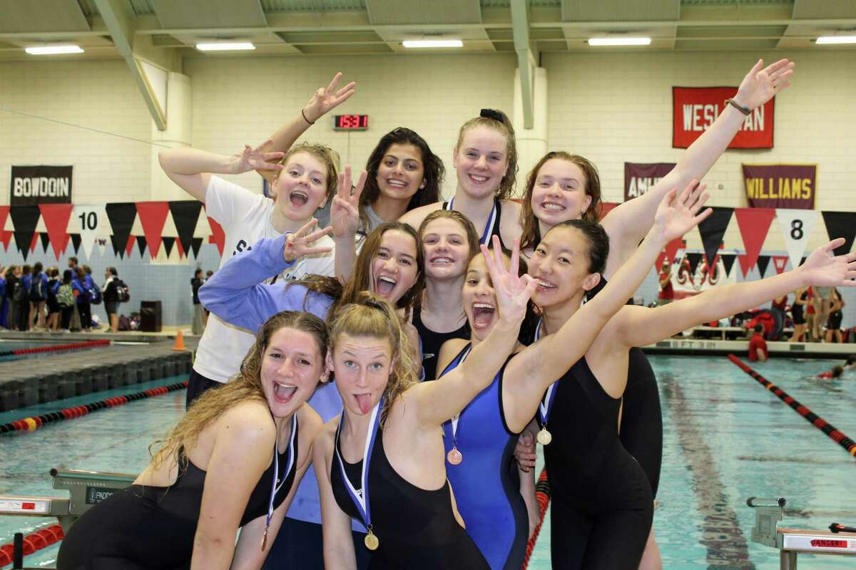 The Staples girls swim and dive team took third place this week at CIAC Class LL Championships after first-place Cheshire and second-place Greenwich