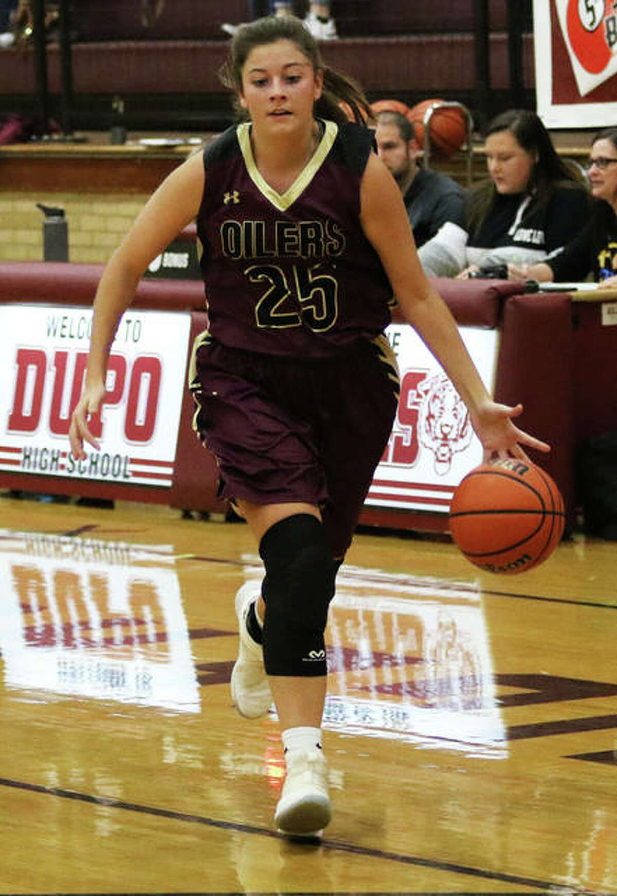 EA-WR's Hannah Allen, shown pushing the ball upcourt in Tuesday's win over Roxana, scored 11 points on Thursday night to lead the Oilers to a semifinal win over Dupo in the Cat Classic in Dupo.