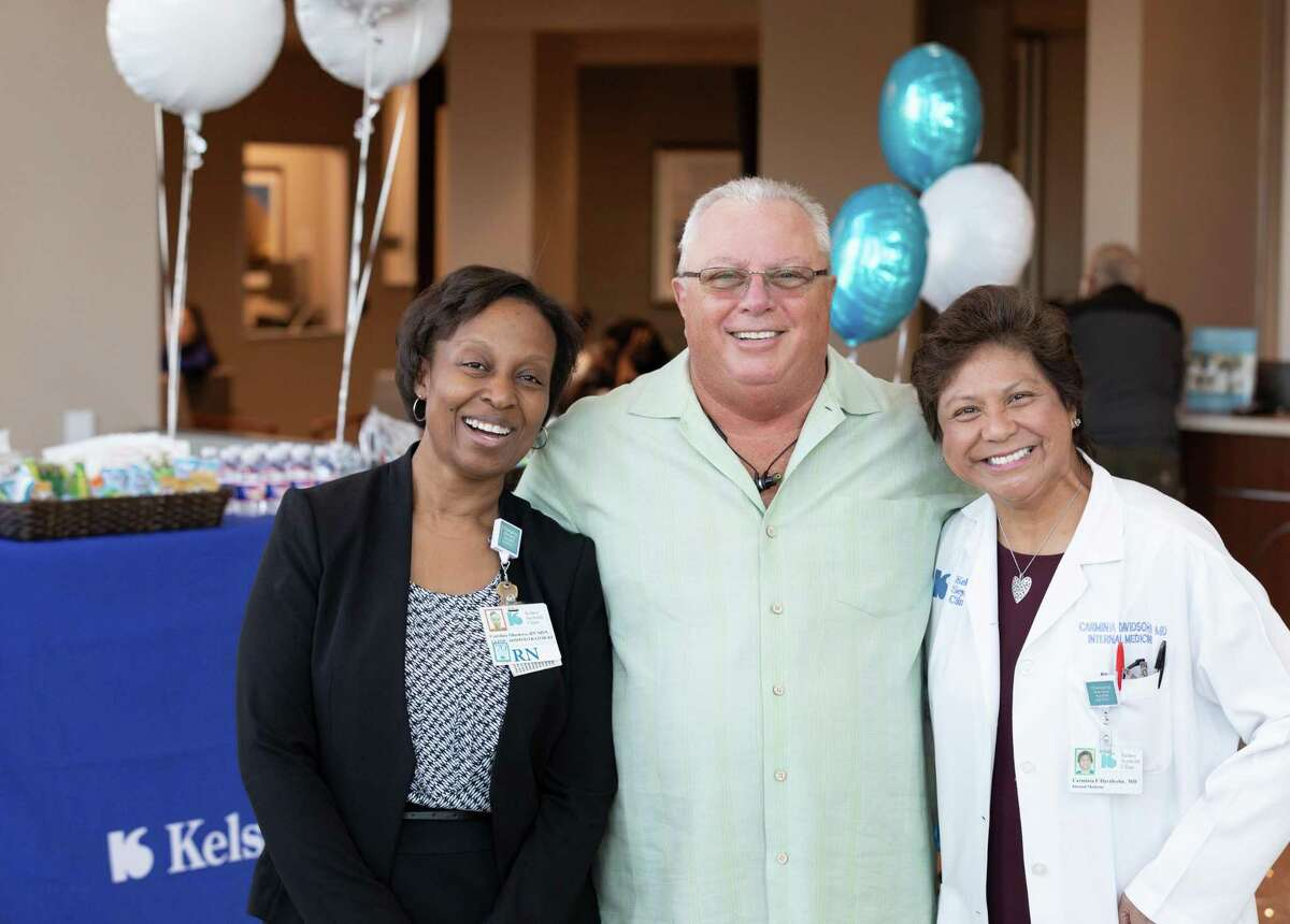 The new Kelsey-Seybold--Cypress Clinic celebrated its first day of operations on Monday, Nov. 18, 2019. From left to right: Caroline Okemwa, clinic administrator; Barry McDonnald, first patient at the new Cypress clinic; Carminia Davidsohn, M.D., managing physician at Kelsey-Seybold--Cypress Clinic.