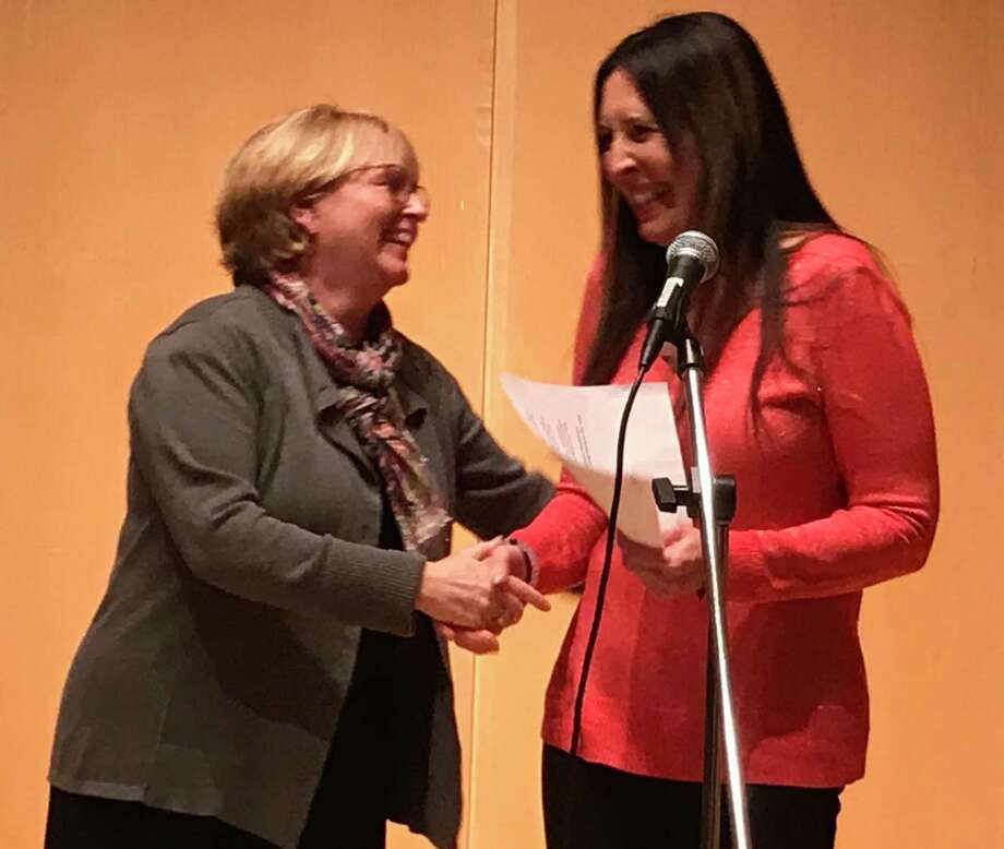 Town Clerk Lori Kabak, right, congratulates First Selectwoman Lynne Vanderslice at Wilton's swearing-in ceremony on Nov. 21. Photo: Contributed Photo / / Wilton Bulletin Contributed
