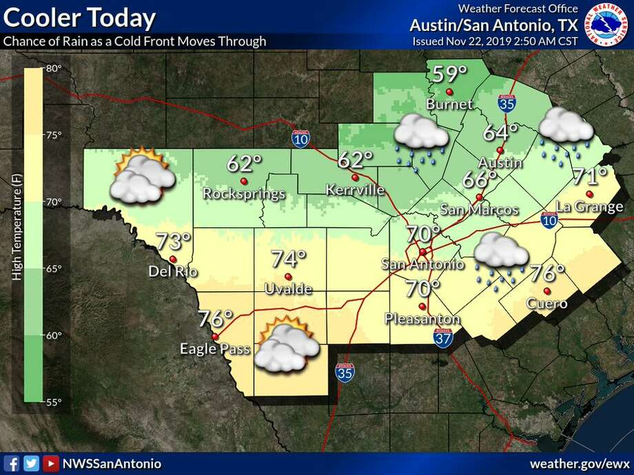 A cold front is moving through the area and will keep temperatures in the upper 60s, according to the National Weather Service. Friday's high in San Antonio is expected to be 69 degrees. The front is also bringing light rain with it. Lows will be in the 40s tonight. Photo: National Weather Service