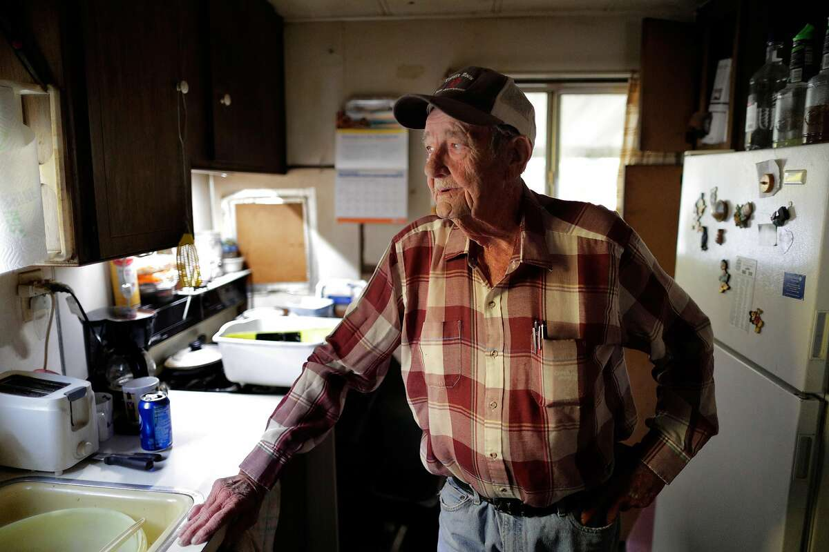 Lawrence Wilson, a recipient of the Chronicle's Season of Sharing fund, at his mobile home in Napa, Calif., on Wednesday, November 11/13/19, 2019. Wilson will use his Season of Sharing fund to help with the cost of getting a new mobile home. His current one is over 60 years old, and riddled with leaks, and infested with rats.