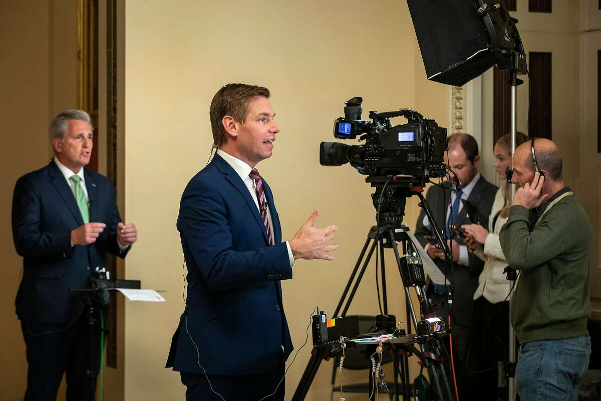Rep. Eric Swalwell, right, and House Minority Leader Rep. Kevin McCarthy, left, make media appearances at the US Capitol in Washington, D.C. after the House Intelligence Committee�s public hearing regarding the relationship between President Donald Trump and Ukraine on Thursday, November 21, 2019.