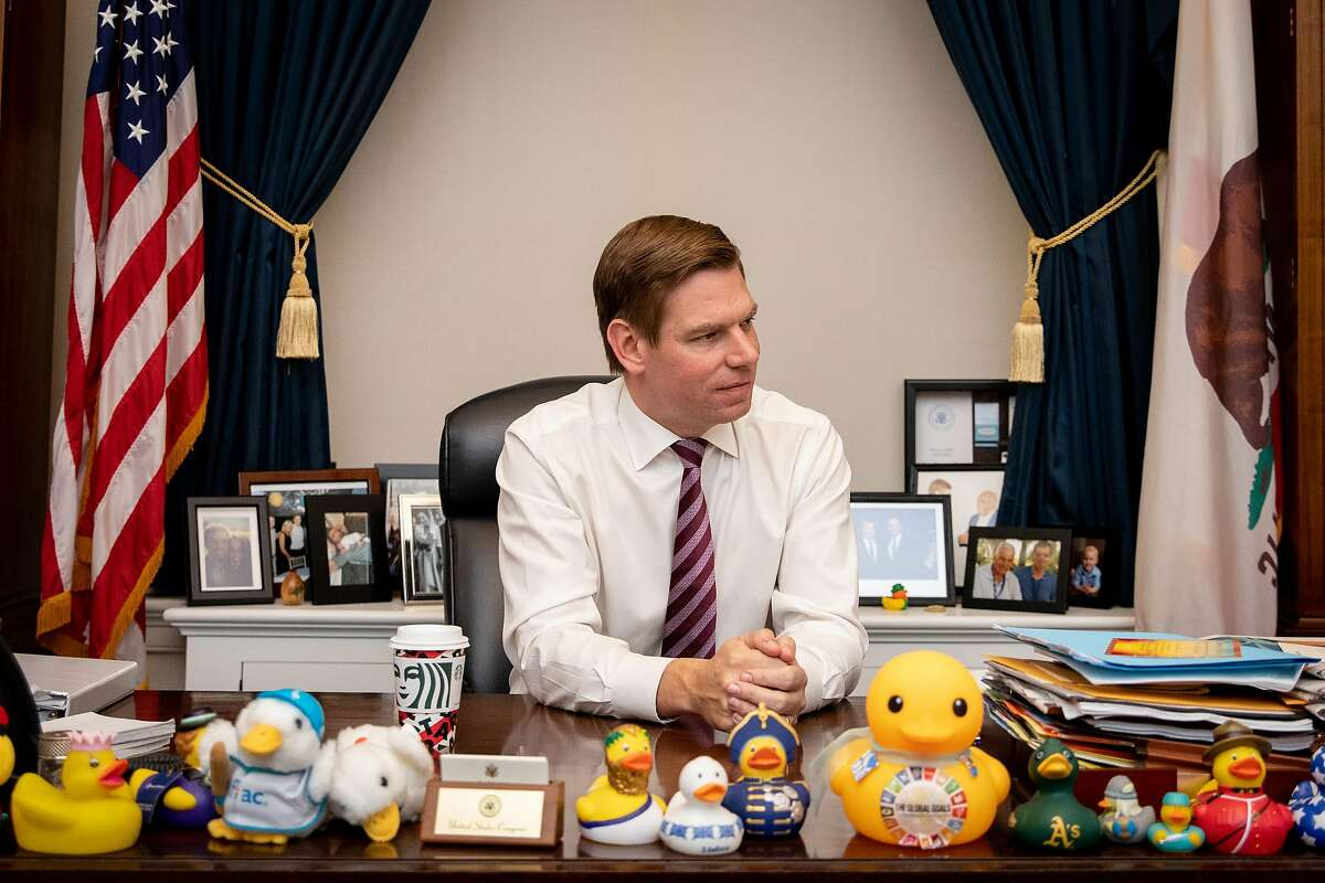 Rep. Eric Swalwell sits at his desk in the US Capitol in Washington, D.C. after the House Intelligence Committee�s public hearing regarding the relationship between President Donald Trump and Ukraine on Thursday, November 21, 2019.