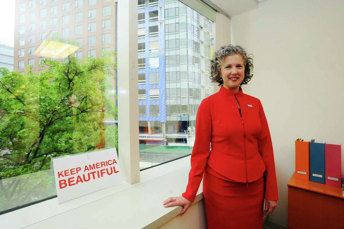 Helen Lowman, the new CEO of Stamford-based nonprofit Keep America Beautiful, poses for a photo inside the Keep America Beautiful offices on Washington Blvd. in downtown Stamford, Conn. on Wednesday, May 24, 2017.