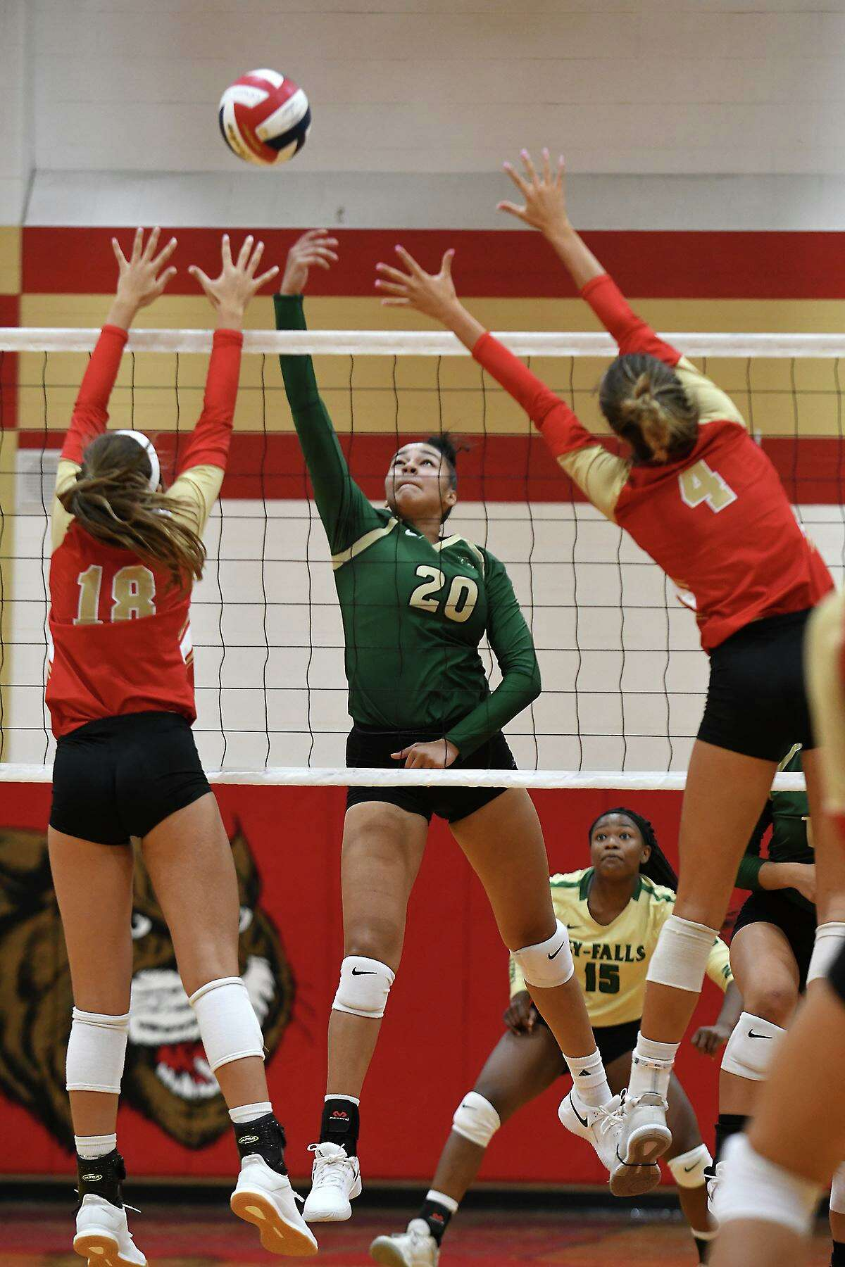 Cy Falls junior Laila Collins (20) was named the District 17-6A Outstanding Blocker, teammate senior Yasmin Mack was named Newcomer of the Year, and senior Morgan Nix was named Outstanding Defensive Player.