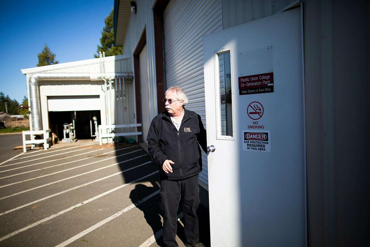 Dale Withers, facility director at Pacific Union College Angwin, California, November 21st, 2019. The fire department, along with a small medical building, bank, an apartment building and the post office is being run by a PG&E temporary generator during a power outage by PG&E during a red flag fire warning. PG&E is experimenting with ways to keep the lights on for some essential main street services during its public safety power outages. It�s set up microgrids in the small Napa County towns of Angwin and Calistoga.
