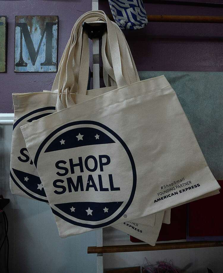 Promotional materials for Small Business Saturday include shopping bags at the newly opened Blackbird Emporium in Silsbee. Like many area store owners, Faith Williams is joining in the national promotion and looking at ways to cross promote other local businesses. Photo taken Friday, November 27, 2015 Kim Brent/The Enterprise Photo: Kim Brent / Kim Brent/The Enterprise / Beaumont Enterprise