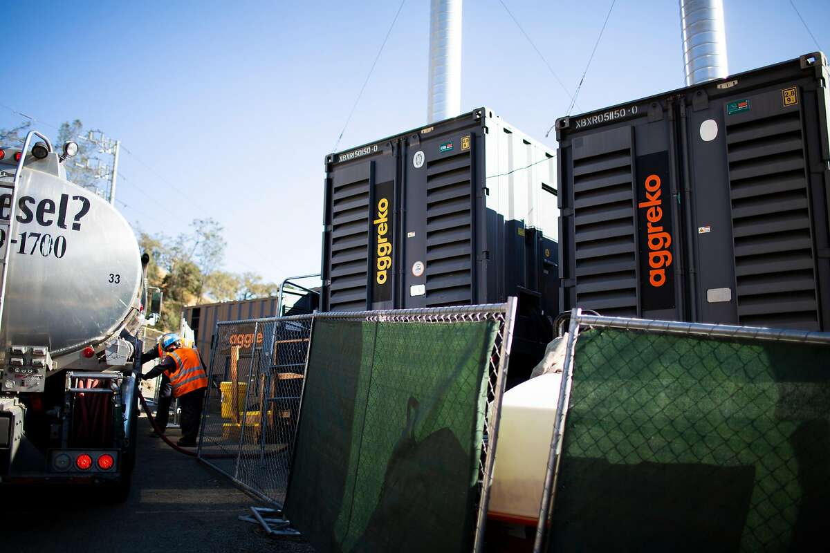 PG&E generators that provide the town of Calistoga with some power during power outages PG&E does during red flag warnings to prevent fires, Calistoga, California, November 21st, 2019. PG&E is experimenting with ways to keep the lights on for some essential main street services during its public safety power outages. It�s set up microgrids in the small Napa County towns of Angwin and Calistoga.