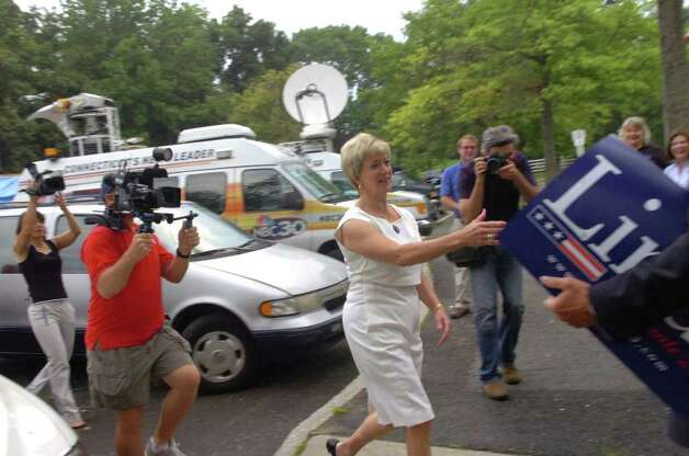 Linda McMahon, Republican candidate for the U.S. Senate, greets supporters at North Street School before voting at the school, on Monday, Aug. 10, 2010. Photo: Helen Neafsey / Greenwich Time