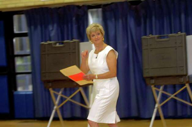Linda McMahon, Republican candidate for the U.S. Senate, voting at North Street School on Tuesday, Aug. 10, 2010. Photo: Helen Neafsey / Greenwich Time