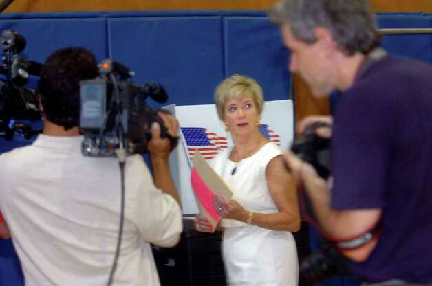 Linda McMahon, Republican candidate for the U.S. Senate, voting at North Street School, on Tuesday, Aug. 10, 2010. Photo: Helen Neafsey / Greenwich Time