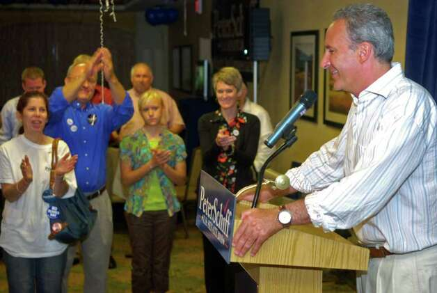 Peter Schiff speaks to supporters as he concedes the Republican Senate primary on Tuesday, August 10, 2010 at the Hilton Garden Inn in Milford. Photo: Lindsay Niegelberg / Connecticut Post