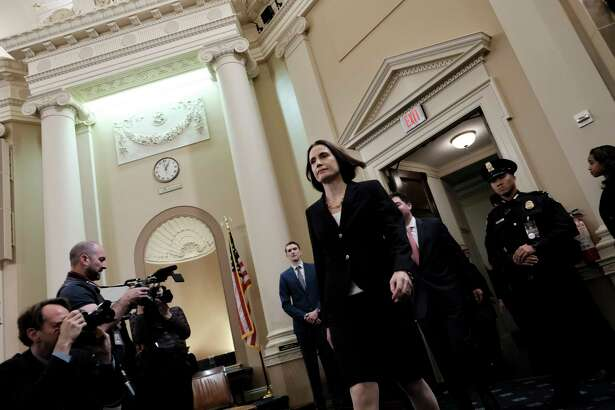 Fiona Hill, former top Russia advisor to the White House, arrives after a break to provide testimony in the impeachment inquiryon Nov. 21, 2019 in Washington, D.C.