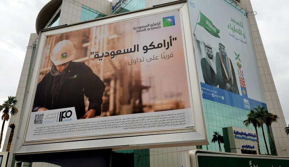 A billboard displaying an advert for Aramco is pictured in the Saudi capital Riyadh on November 18, 2019. Photo: Fayez Nureldine, AFP Via Getty Images