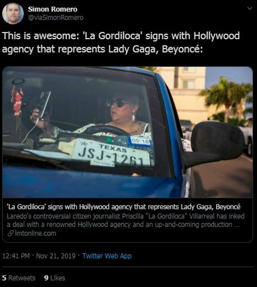 News of 'La Gordiloca' signing with a Hollywood talent agency spread around Laredo, with locals reacting to news with both celebration and derision. Photo: Twitter.com