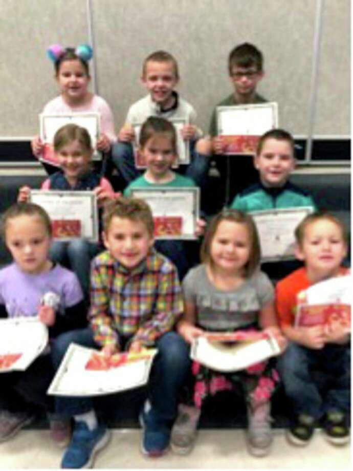 Bad Axe Elementary Schoolrecently named its November Citizens of the Month. They are (first row) Kindergarten, Shelby Sadro, Winn Alaouie; Young 5, Violet Robles; Physical Education Citizen-Kindergarten, Xander Pitcher; (second row) First Grade, Miley Jordan, Elinor McCrea and Griffin Babcock; (third row) Second Grade, Calleigh Gottschalk, Miles Brown and Denton Ross. Missing from photo is Kindergarten, Mason Milliken. (Submitted Photo)