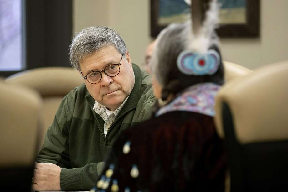Attorney General William Barr speaks with participants at a meeting on missing and murdered indigenous persons at Salish Kootenai College on the Flathead Reservation in Pablo, Mont. Photo: Patrick Semansky / Associated Press