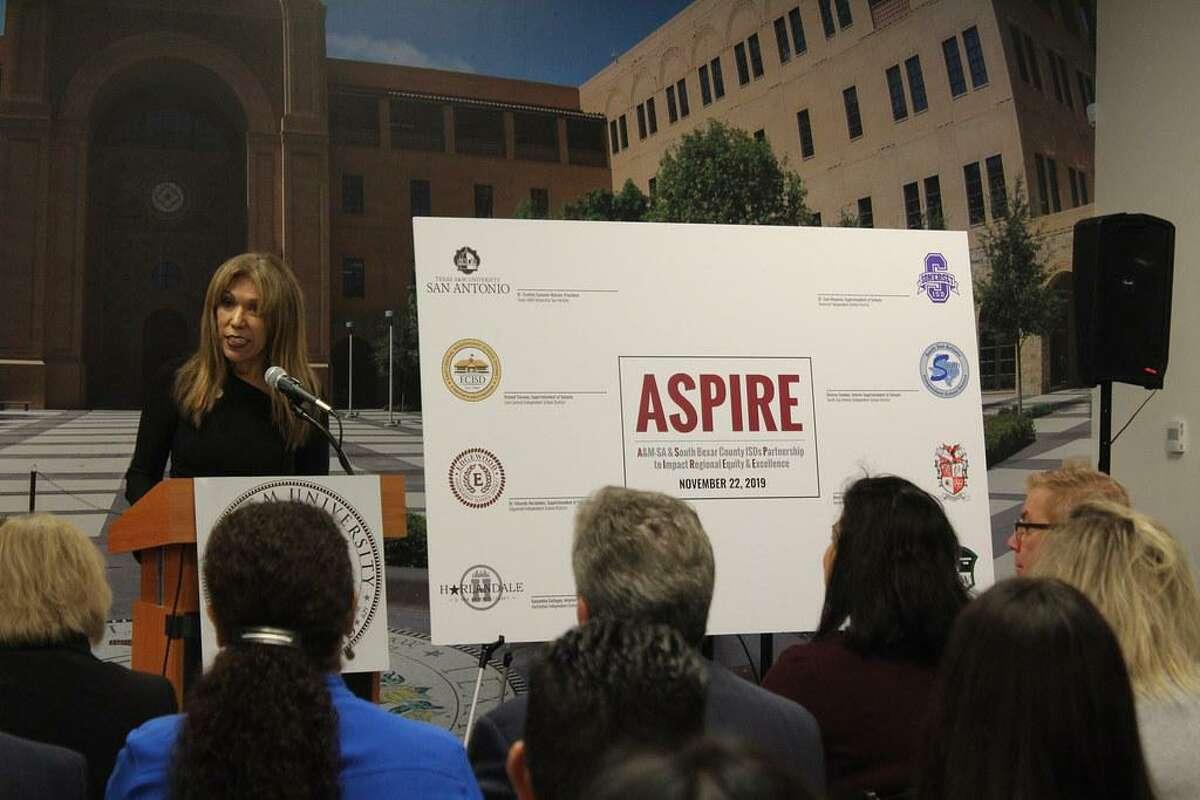 A&M University San Antonio president Cynthia Teniente-Matson announces the ASPIRE partnership with seven South Bexar County school districts.
