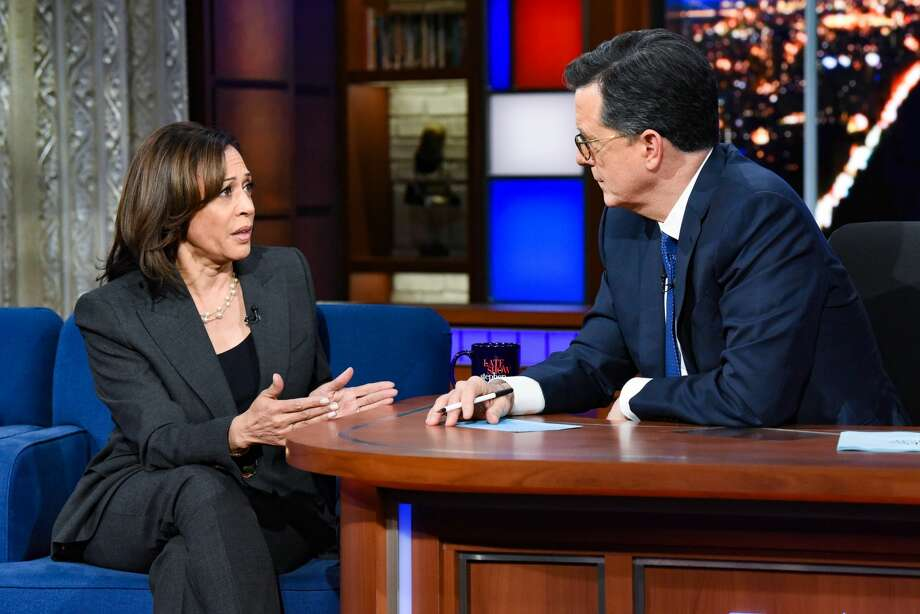 The Late Show with Stephen Colbert and guest Sen. Kamala Harris during Thursday's November 21, 2019 show. Photo: CBS Photo Archive/CBS Via Getty Images