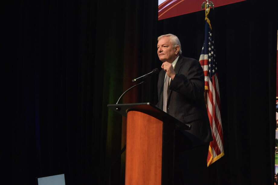 Steve Radack, Harris County Precinct 3 commissioner, speaking to the crowd at the Cy-Fair Houston Chamber of Commerce luncheon on Nov. 19, 2019 at the Berry Center. He called for attendees to vote and explained his disdain for Commissioners Court and Harris County Judge Lina Hidalgo Photo: Chevall Pryce