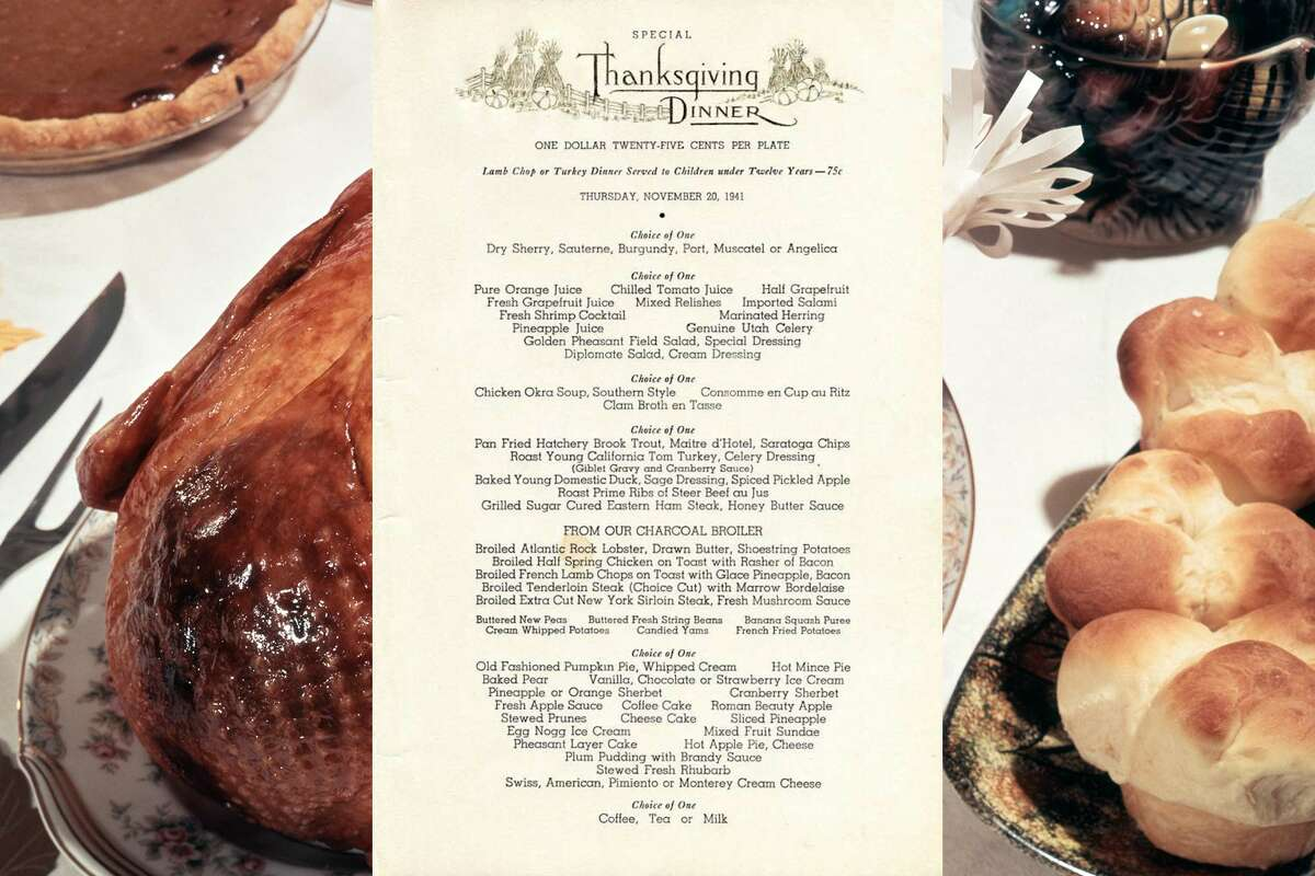 1941, Golden Pheasant, San Francisco: Thanksgiving dinner menu. The dinner cost only $1.25.