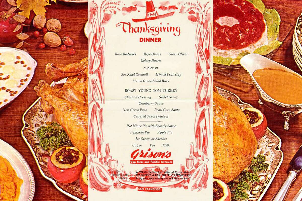 circa. 1960, Grison's Steak House, San Francisco, Van Ness at Pacific: Thanksgiving Day menu.