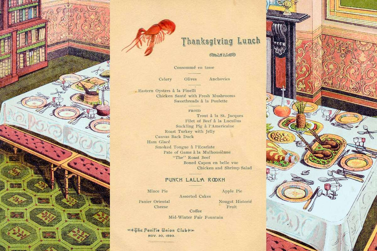 1893, Pacific Union Club, San Francisco: menu from the traditional Thanksgiving Lunch.