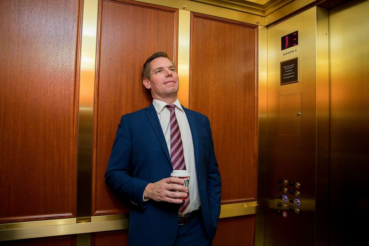 Rep. Eric Swalwell leans back in an elevator at the US Capitol in Washington, D.C. before making a media appearance on Thursday, November 21, 2019.