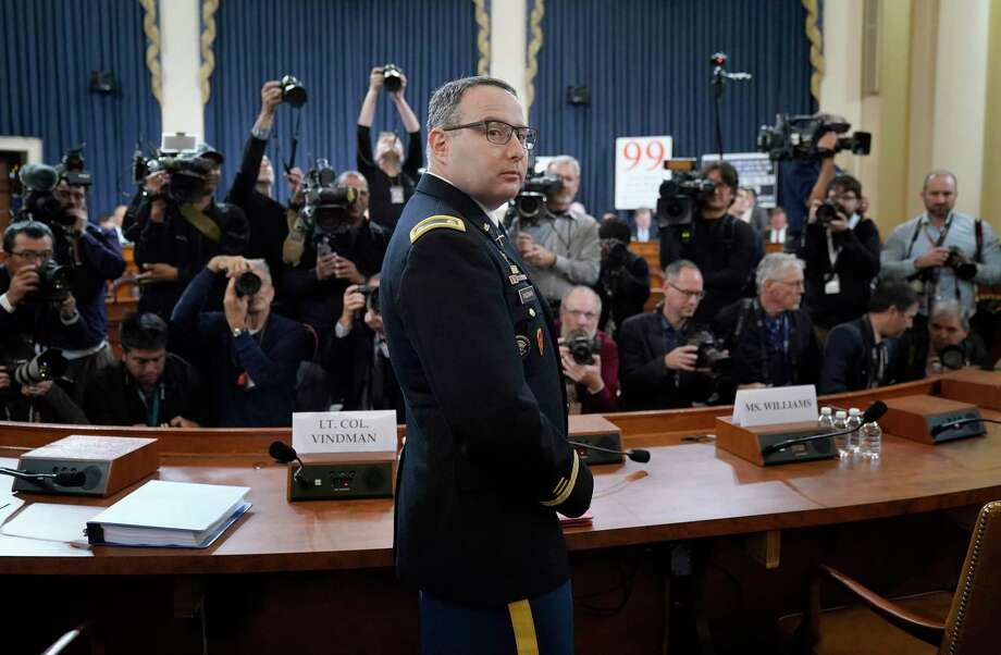 One reader is grateful for the courage and service of Lt. Col. Alexander Vindman, National Security Council director for European affairs. Another thanks this nation's founders. Photo: Win McNamee /Getty Images / Getty Images North America