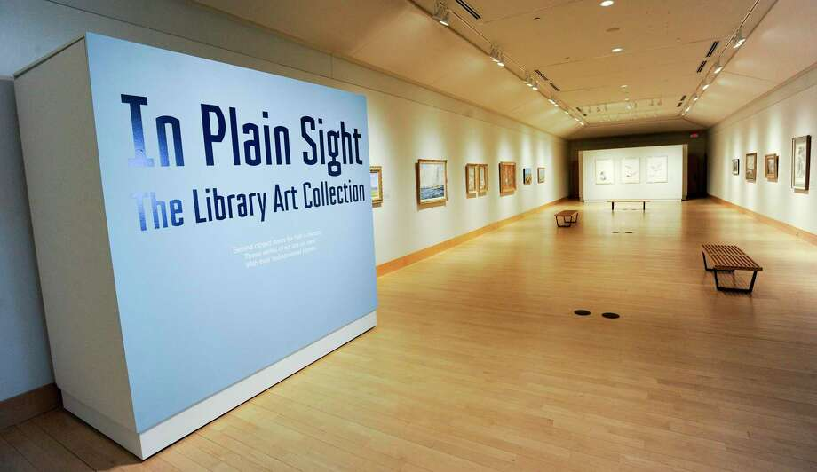 "The Flinn Gallery at the Greenwich Library has reopened after being closed for several months while construction was going on outside its walls. The new exhibit, ""In Plain Sight, Library Art Collection,"" is made up of works that belong to the library's permanent collection . Many pieces on display have been hanging in various locations, often behind closed doors. Barbara Richards is the curator and sleuth who has gathered and arranged this collection. The gallery's hours are 1 to 5 p.m. Sundays; 10 a.m. to 5 p.m. Tuesdays, Wednesdays and Fridays; 10 a.m. to 8 p.m. Thursdays; and 10 a.m. to 5 p.m. Saturdays. Closed Mondays and holidays. Visit flinngallery.com or call 203.622.7947 for more information. Photo: Matthew Brown / Hearst Connecticut Media / Stamford Advocate"