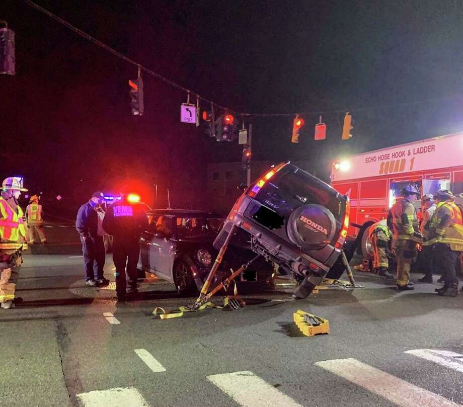 Just after 10 p.m. on Thursday, Nov. 21, Shelton fire companies 3 and 1 responded to a motor vehicle accident at the intersection of Bridgeport Avenue and Commerce Drive. Photo: Huntington Fire Co. 3 / Connecticut Post
