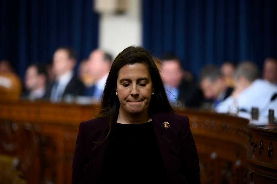 US Congresswoman Elise Stefanik, R-NY, departs after listening to Fiona Hill, the former top Russia expert on the National Security Council, and David Holmes, a State Department official stationed at the US Embassy in Ukraine testify during the House Intelligence Committee hearing as part of the impeachment inquiry into US President Donald Trump on Capitol Hill in Washington,DC on November 21, 2019. (Photo by JIM WATSON / AFP) (Photo by JIM WATSON/AFP via Getty Images)