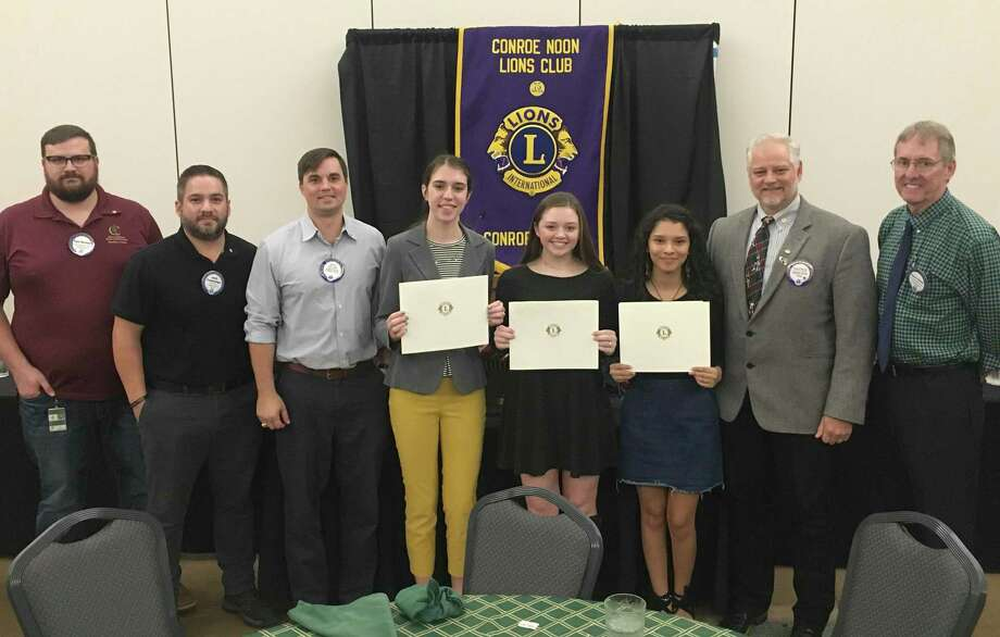 The Conroe Noon Lions Club awarded $4,000 last week to Conroe High School seniors in its Outstanding Youth Contest, finalists are pictured with club and committee members. Pictured: Kyle Bartlett, Josh Cummings, Zak Laake, Kayla Hadash, Gracie Phillips, Casandra Rangel, President Scott Perry, Glenn Slater. Photo: Courtesy Photo