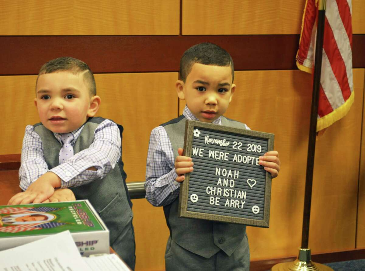 Noah Beharry, 2, and Christian Beharry, 5, were adopted Friday by parents Mahashwer and Guitree Beharry of Newington at Middletown Juvenile Court.