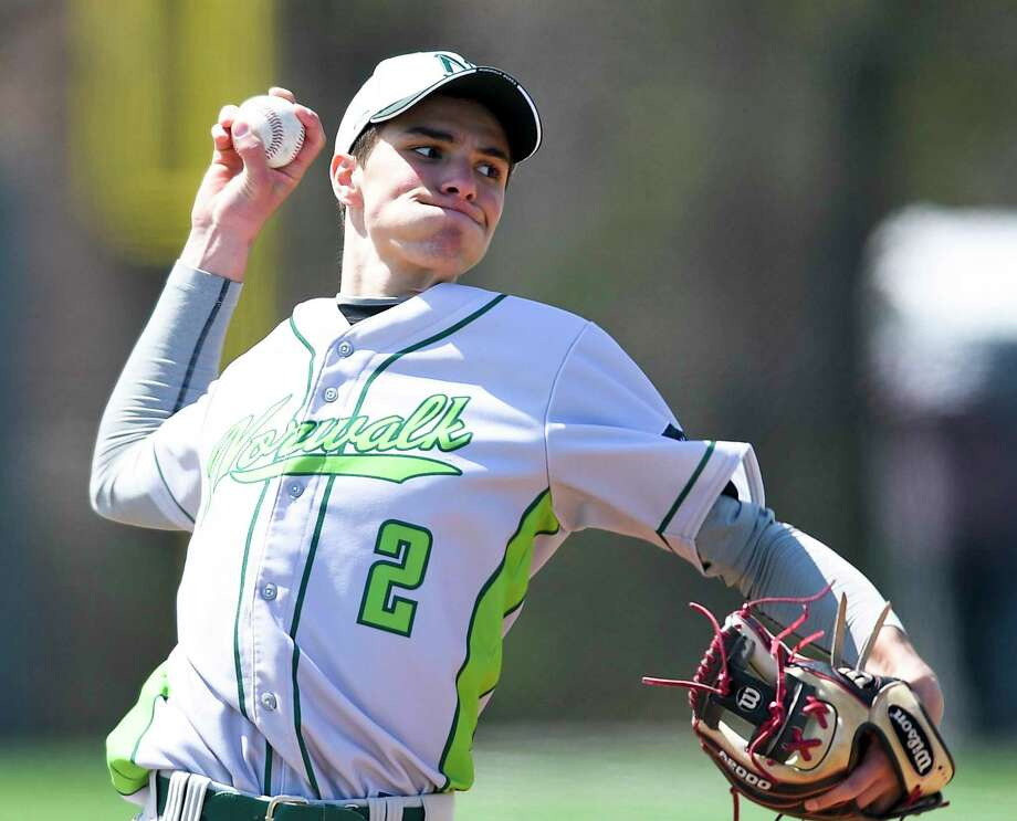 Norwalk's Michael Boyian is one of three Connecticut natives who signed National Letters of Intent with Sacred Heart baseball program Photo: Matthew Brown / Hearst Connecticut Media / Stamford Advocate