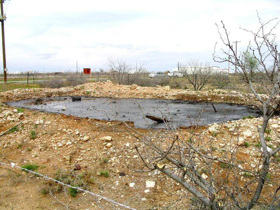 Reclaiming an abandoned saltwater disposal facility site in Andrews included cleaning up an associated pit, which contained hydrocarbons. Photo: Courtesy Photo